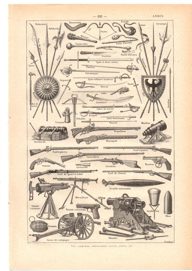 """Illustration vintage """" Armes"""" Dictionnaire Français  1930/ Digital download de la boutique SoPrettyJoliVintage sur Etsy"""