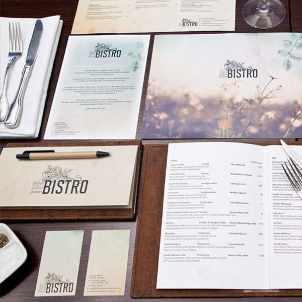 The Bistro menu, gift certificates, business cards, wine list and promotional postcard designs.