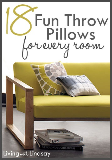 18 Fun Throw PIllows for Every Room via LivingWithLindsay.com