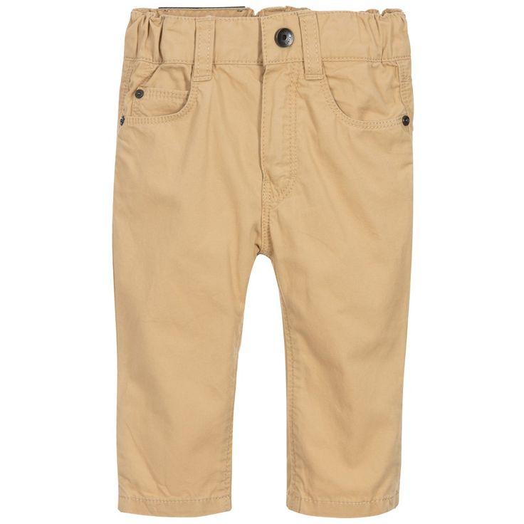 BOSS Baby Boys Beige Cotton Trousers