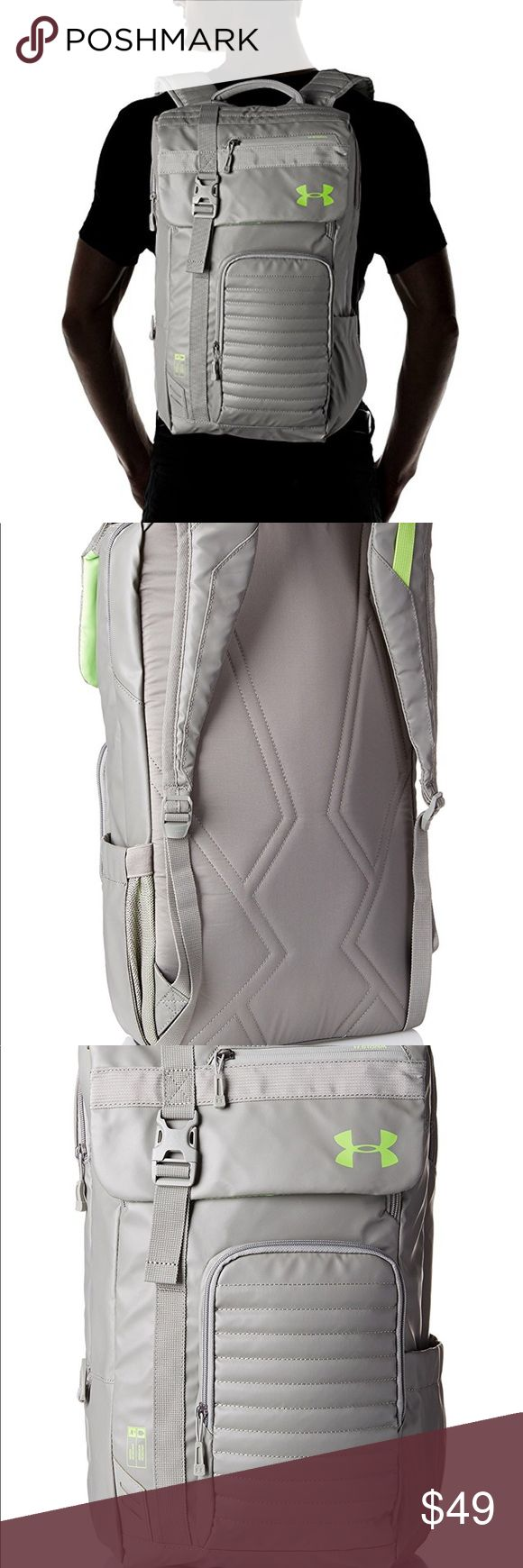 Under armor backpack brand new w/tags perfect size Secure, wide-mouth, top-entry compartment allows you to easily load & unload. UA Storm gear uses a finish to repel water without sacrificing breathability. Foam reinforced panels help protect your gear. Soft lined laptop sleeve-holds laptop. Adjustable, padded, Heat Gear shoulder straps for total comfort. Ergonomic foam back panel for comfortable wear. PU-coated open pocket on side, ideal for a water bottle. Accessible top front pocket…