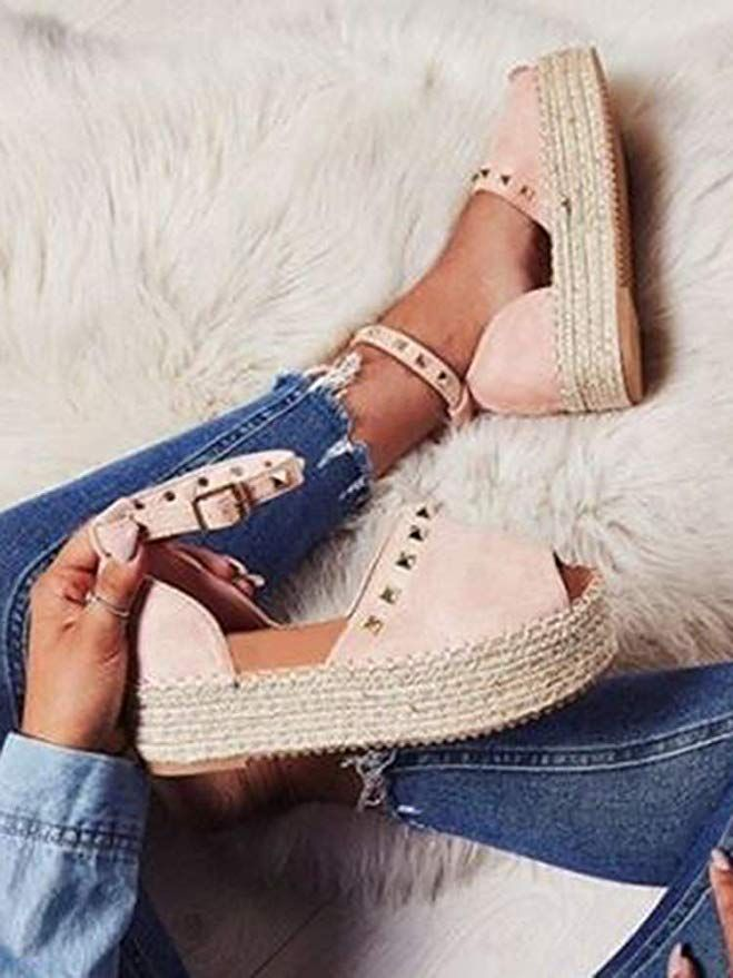 e9491fb0e9 Womens Open Toe Espadrille Ankle Strap Boho Lace Up Rivet Flatform Sandals  |prettysandals |sandalsblack
