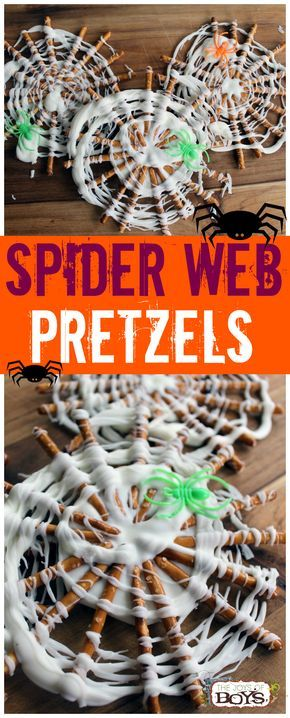 Spider Web Pretzels - These are such a fun and easy Halloween treat. Perfect treat for a Halloween party.