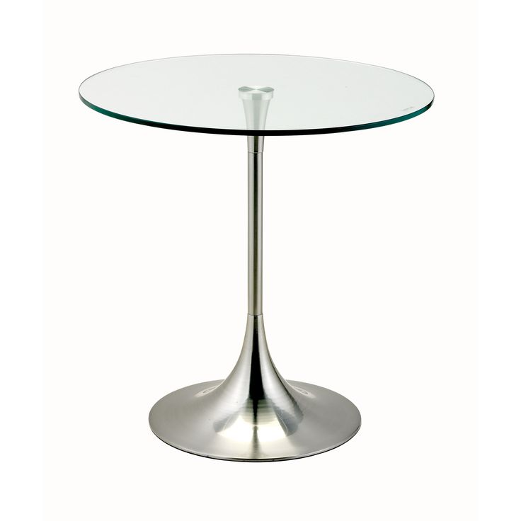 Trumpet Shaped Pedestal Base With Tempered Glass Table Top And A Durable  Construction Complete This Accent