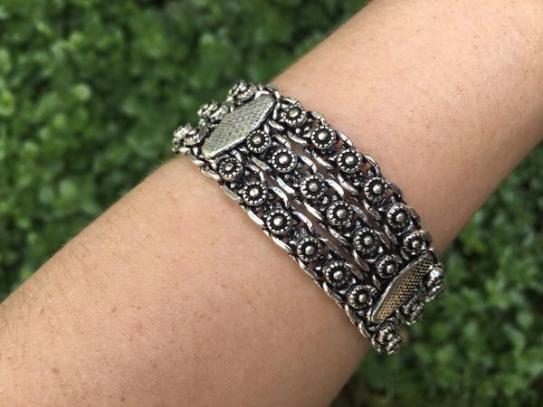 Bohemian metal bracelet $19.95 USD  Tribal turquoise & coral bracelet $19.95   #tribalbracelet #gypsyjewelry #hippiejewelry #bohobracelet
