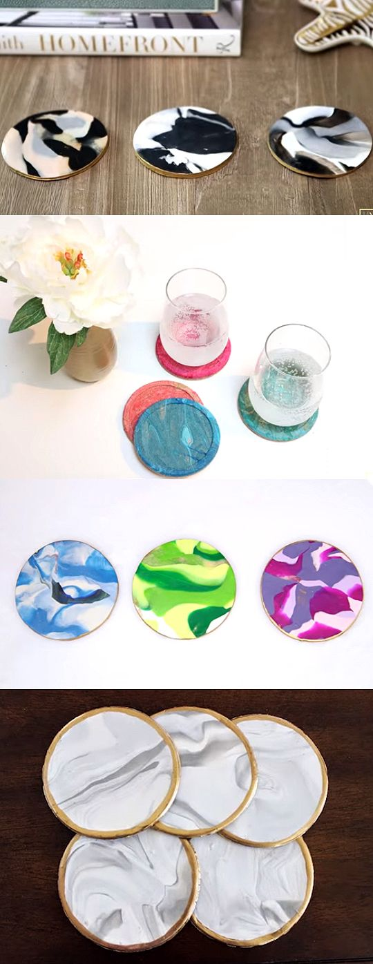 Easy DIY Clay Marble Coasters | DIY Marble Coasters Out Of Clay | Check out the video and written instructions here: http://gwyl.io/diy-marble-coasters-clay/