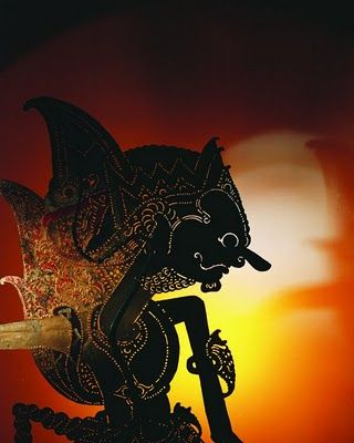 Indonesian shadow puppet: black silhouette