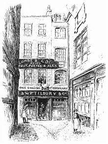 gravure ancienne on voit la façade d'une taverne