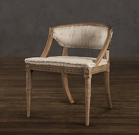 Swedish Demi-Lune Chair | Chairs | Restoration Hardware- master bedroom but reupholster...possibly lavender