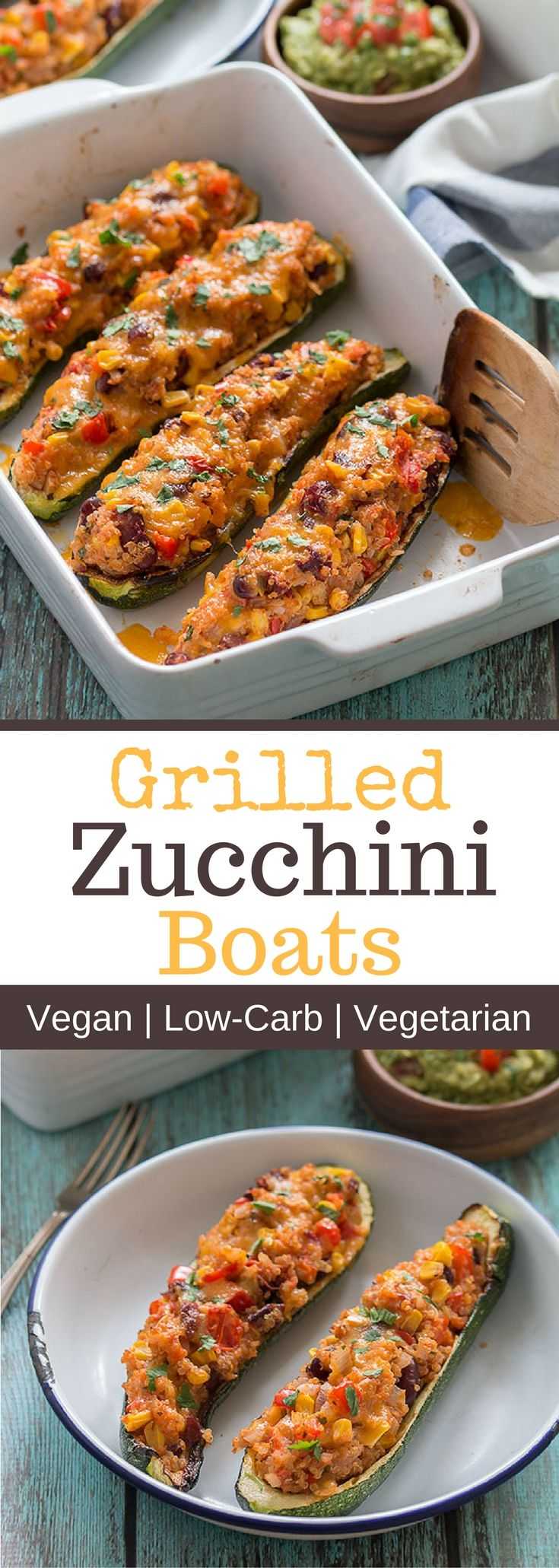 Grilled Zucchini Boats are absolutely delicious and easy to make. They are vegan, gluten-free, low in carbs and you can enjoy them spicy or mild.