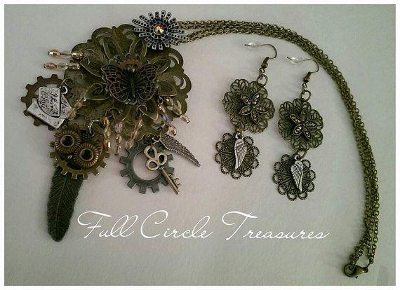"18"" Steampunk Springtime jewelry set, handmade steampunk necklace, handmade steampunk earrings, keys, gears, crystals, owl, wings, OOAK by fullcircletreasures. Explore more products on http://fullcircletreasures.etsy.com"