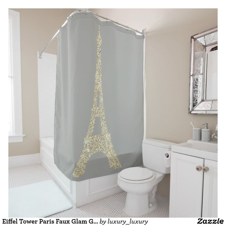 Eiffel Tower Paris Faux Glam Gold Gray Crystals Shower Curtain