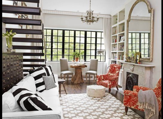 love it: Decor, Genevieve Gorder, Black Window, Spaces, Living Rooms, Color, Interiors Design, Red Chairs, House