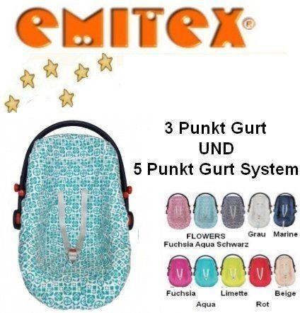 Emitex BabyWay Funda para Silla de coche Gr. 0/0+ p.e. Maxi Cosi, Römer etc. -- FLOWERS AQUA --