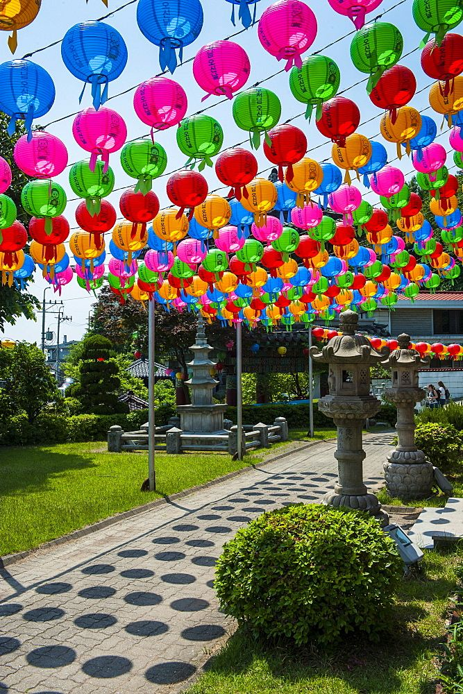 Colourful paper lanterns in the fortress of Suwon, UNESCO World Heritage Site, Suwon, South Korea, Asia