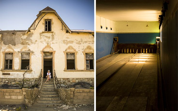 Summer Travels in Namibia Part I: The Tale of Kolmanskop.  Skittle alley, and the remains of one of the houses...
