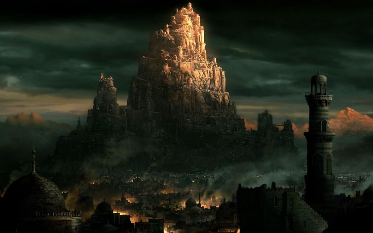 fantasy medieval city fantasy city huge mountain