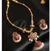 Beautiful Kemp-green Designer Temple Necklace Set-dj0381