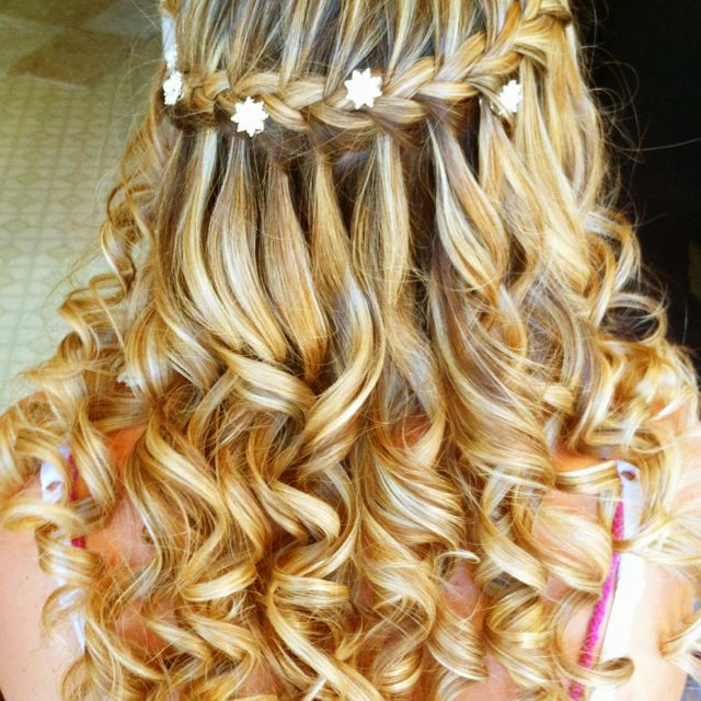 Wedding hair I did. Waterfall braid with hair jewels