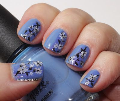 Marias Nail Art and Polish Blog: Secret black & white flowers on periwinkle - 354 Best Nail Designs With Flowers Images On Pinterest Flower