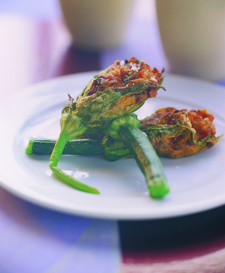 Grilled Zucchini Flowers with Bruschetta-style tomatoes and Bocconcini