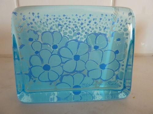 Iittala Glass card peperweight Flowers Heljä Liukko-Sundström OLD AND RARE