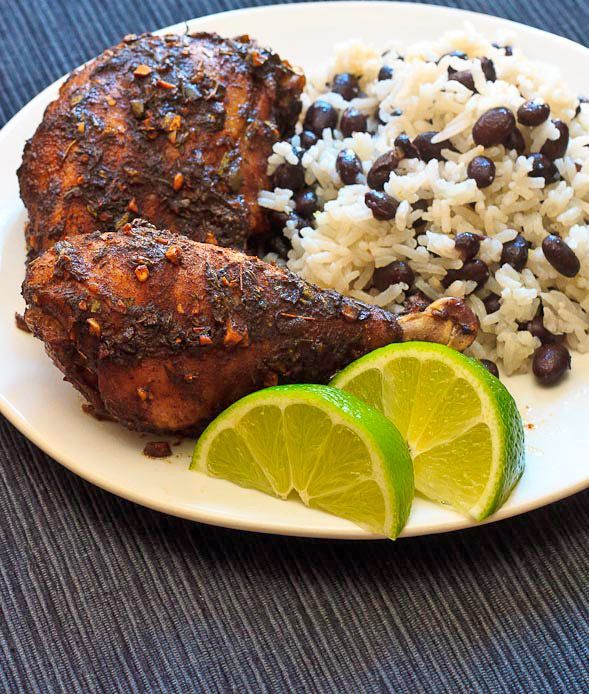 Jamaican Jerk Chicken with Coconut Rice and Beans // wishfulchef.com