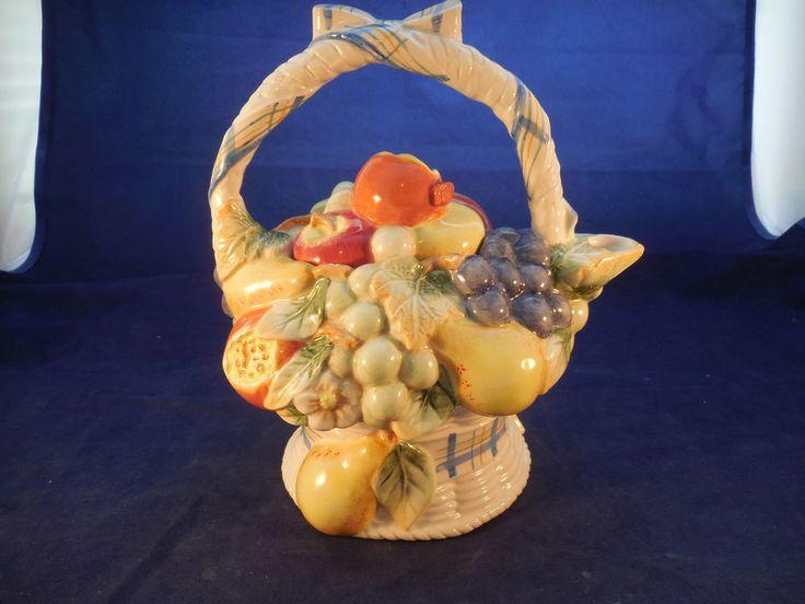 "fitz and floyd Omnibus teapot fruit flower basket design 8 1/4"""