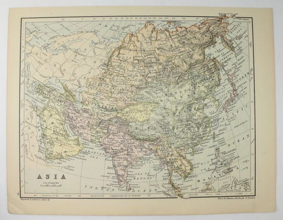 Original Vintage Map Asia, Turkey Map 1875 Johnston Map Middle East, China Map, Turkish Empire, Siberia Map, Antique Asia Map available from OldMapsandPrints.Etsy.com #Asia #TurkishEmpire #VintageMapoftheMiddleEast
