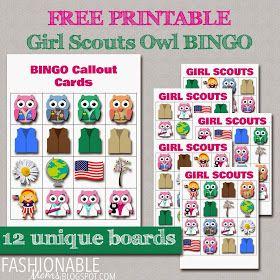 fashionable moms free printable mini owl girl scouts bingo daisy scouts pinterest. Black Bedroom Furniture Sets. Home Design Ideas