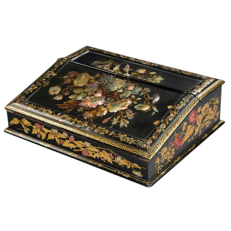 Fine 19th Century Papier Mache Travelling Desk | From a unique collection of…