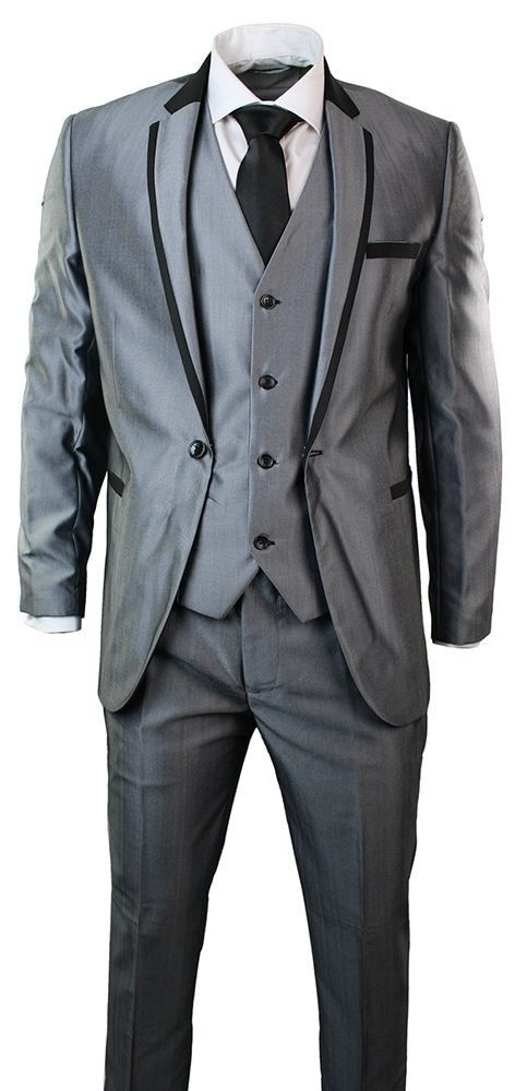 Mens Shiny Grey 3 Piece Suit Black Trim Fitted Ideal for Wedding Party Prom. #Suits #clothing #style #fashion #menswear #shopping #prom #wedding