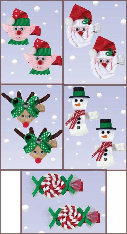 DIY Baby christmas ribbon Hair Clips | Holiday Hair Clips, Ribbon Art $8.00 for …