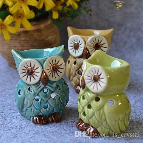 Lovely MINI Owl Aromatherapy Oil Burner Ceramic Home Fragrance Holder Cute Essential Oil Burner Candle Holder Base Home Decoration