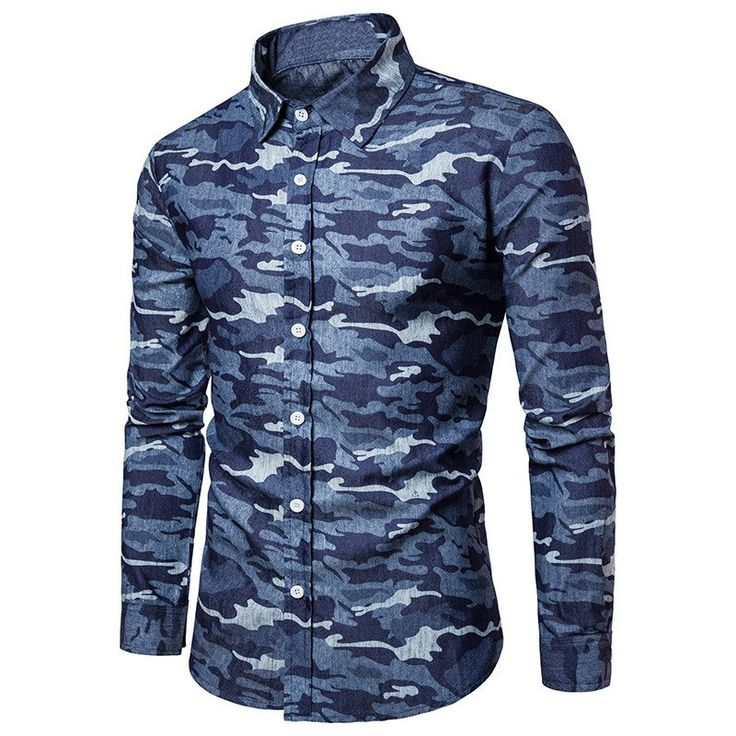 2017 New Arrival Autumn Casual Camouflage Shirts Long Sleeve Lapel Neck Army Camo Buttons Up Men Tee Shirt Top Slim Fit Cotton #Affiliate