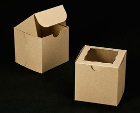 Natural brown single cupcake box - available with or without inserts.