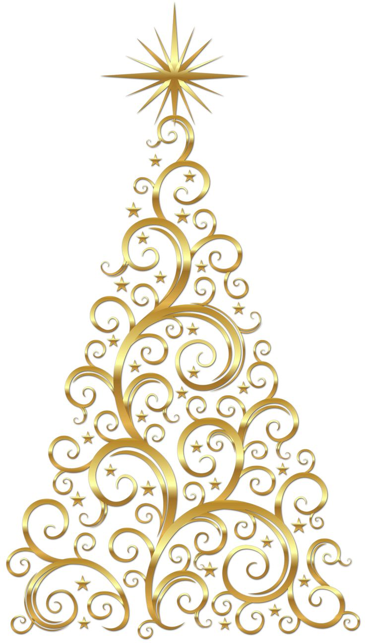 Gold scroll christmas tree christmas trees pinterest for Modern gold christmas tree