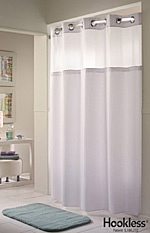 Hookless Shower Curtain Is Great On A Curved Rod. See Through Top Provides  Spacious Feel