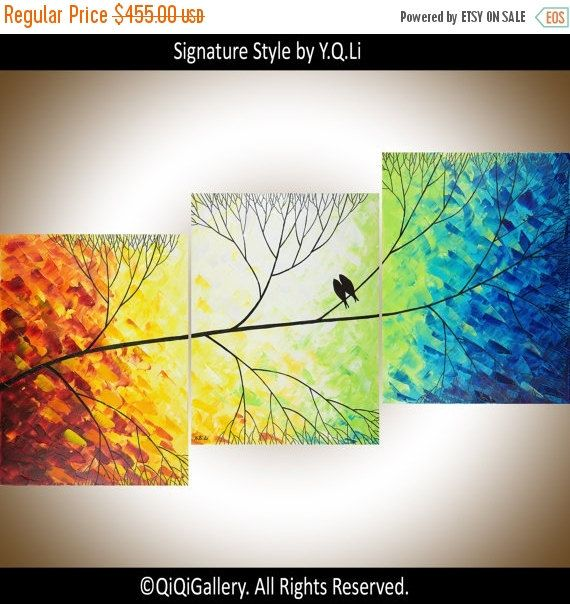 """Christmas Sale Painting 54"""" large art Love Birds on tree branch wall art decorative art Wall decor canvas art """"Beautiful Day"""" by QIQIGALLERY"""