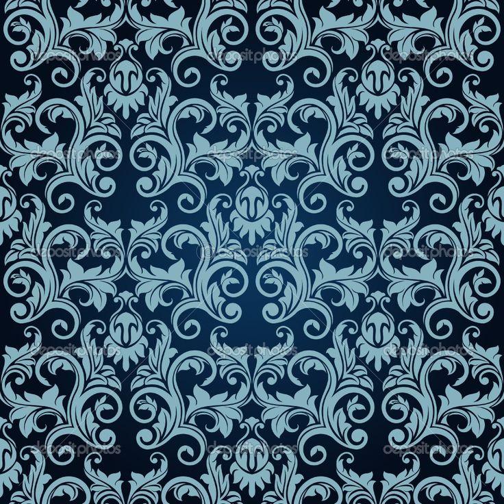 Victorian wall paper victorian wallpaper pattern blue for Blue patterned wallpaper bedroom