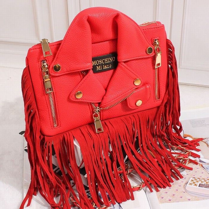 Moschino Jacket Pattern Womens Tassel Clutch Red