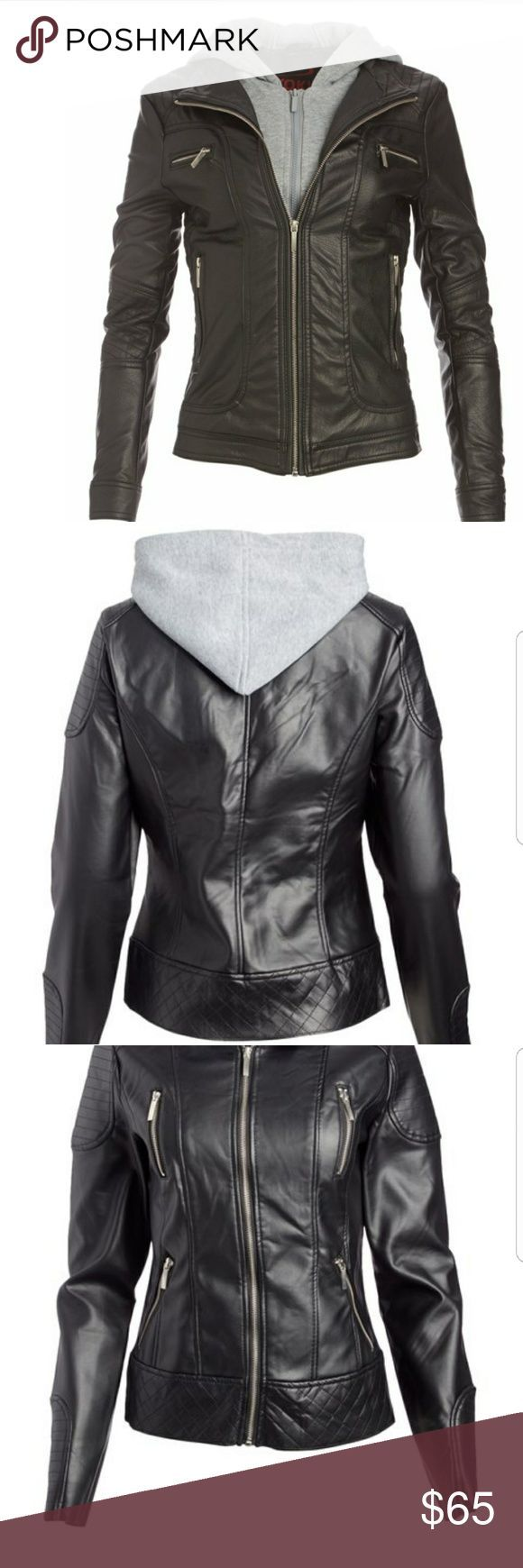 Plus Size Leather Jacket Nwt plus size black and gray hooded faux leather jacket.  Retail $99 Size xxl. Jackets & Coats