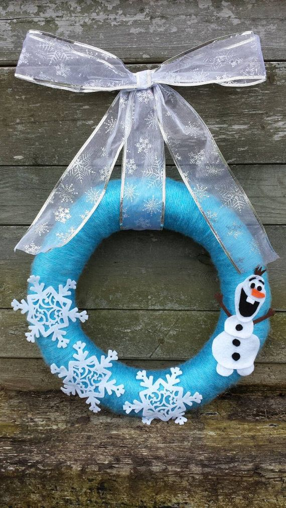 Olaf yarn wreath by JD2plus2