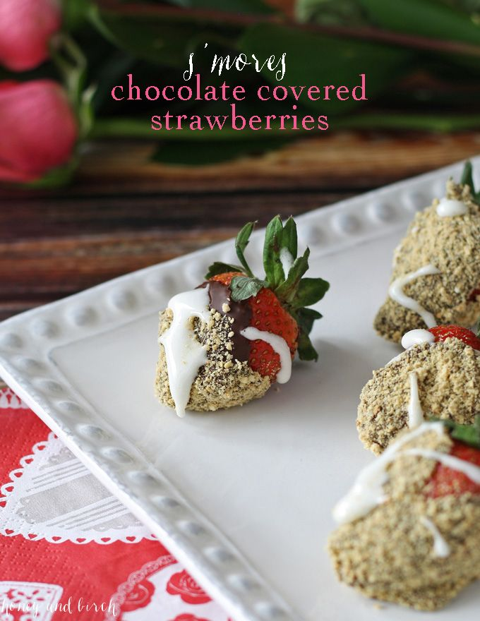 S'mores chocolate covered strawberries are the perfect dessert for Valentine's Day or treat for any day. Easy to make your own at home!