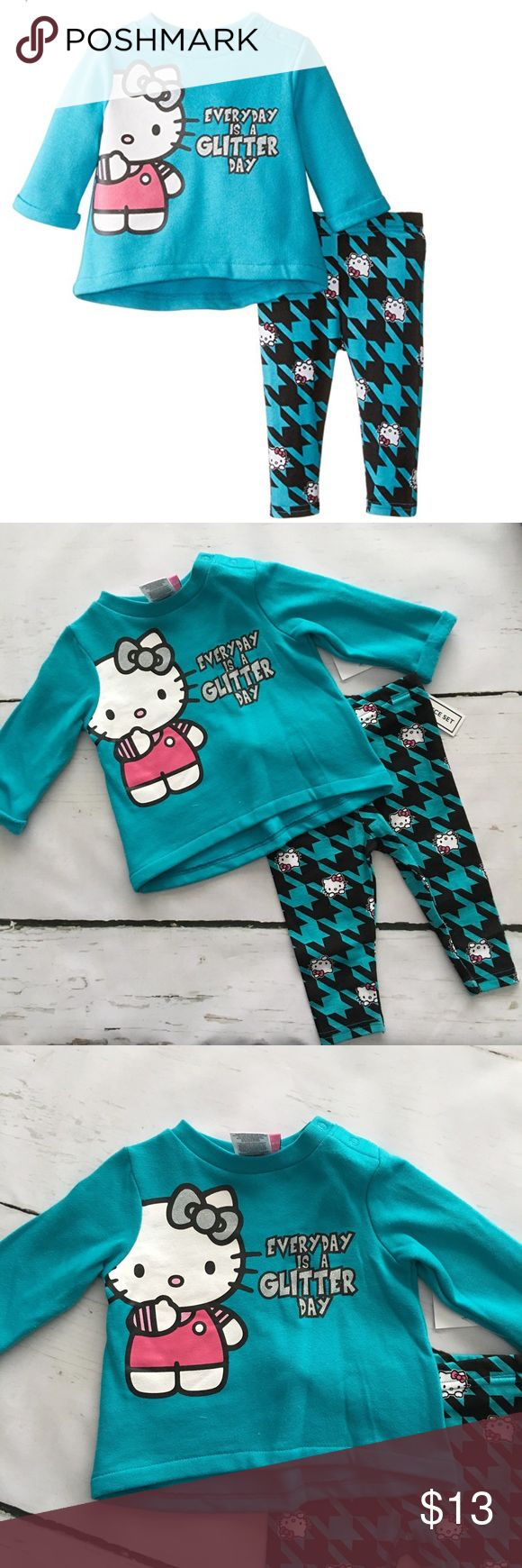 🆕Hello Kitty Set🆕 Absolutely correct! Every day is a glitter and sparkle day!! This outfit is a Hi-low style sweatshirt with rolled cuff's and a pair of matching leggings. Hello Kitty Matching Sets