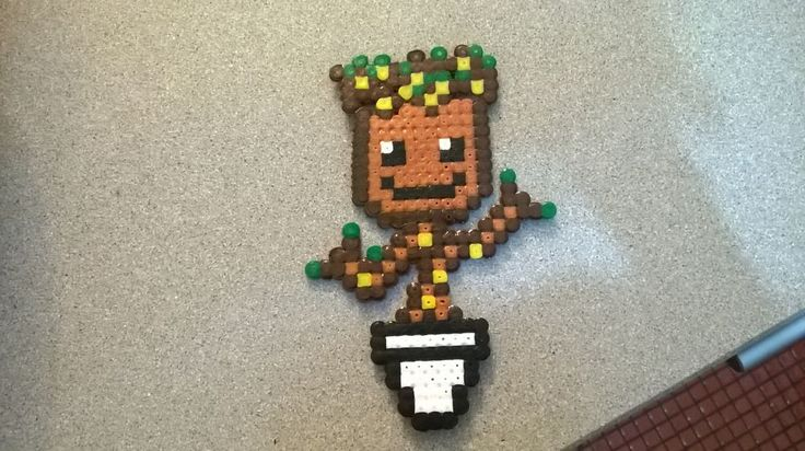 Perler Beads Baby Groot via Makery. Click on the image to see more!