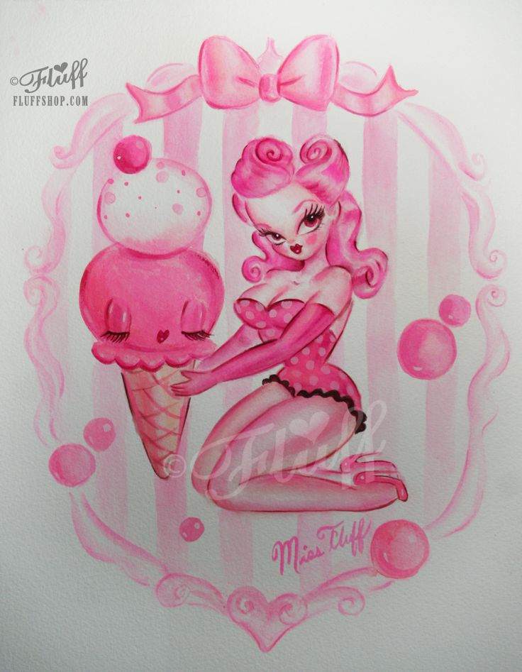 Pink Bubblegum Ice Cream Pin Up by Miss Fluff/ Claudette Barjoud - original painting http://cgi.ebay.com/ws/eBayISAPI.dll?ViewItem&item=171308771502