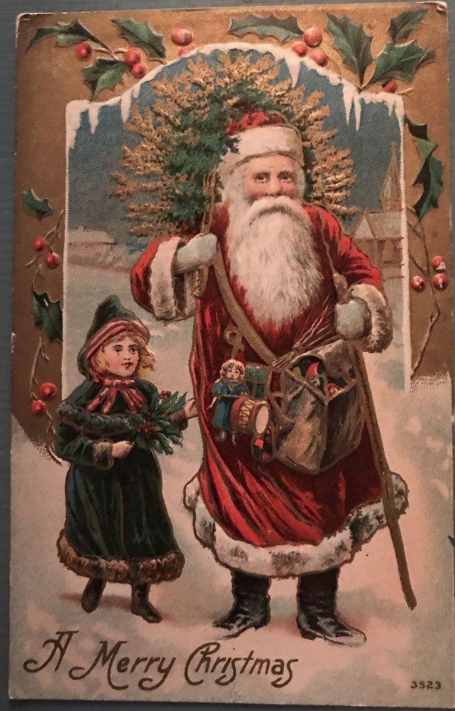 f4b72bdbcb ~Long Robe Victorian Santa Claus   Little Girl Antique Christmas  Postcard-k158  Christmas