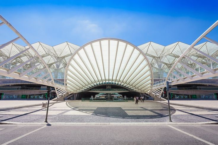5. The exterior of Gare do Oriente, a train station in Lisbon designed by the Spanish architect Santiago Calatrava, is made up of spires and large, skeleton-like wings.
