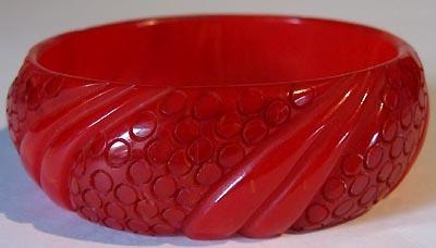 Cherry red Bakelite bangle.